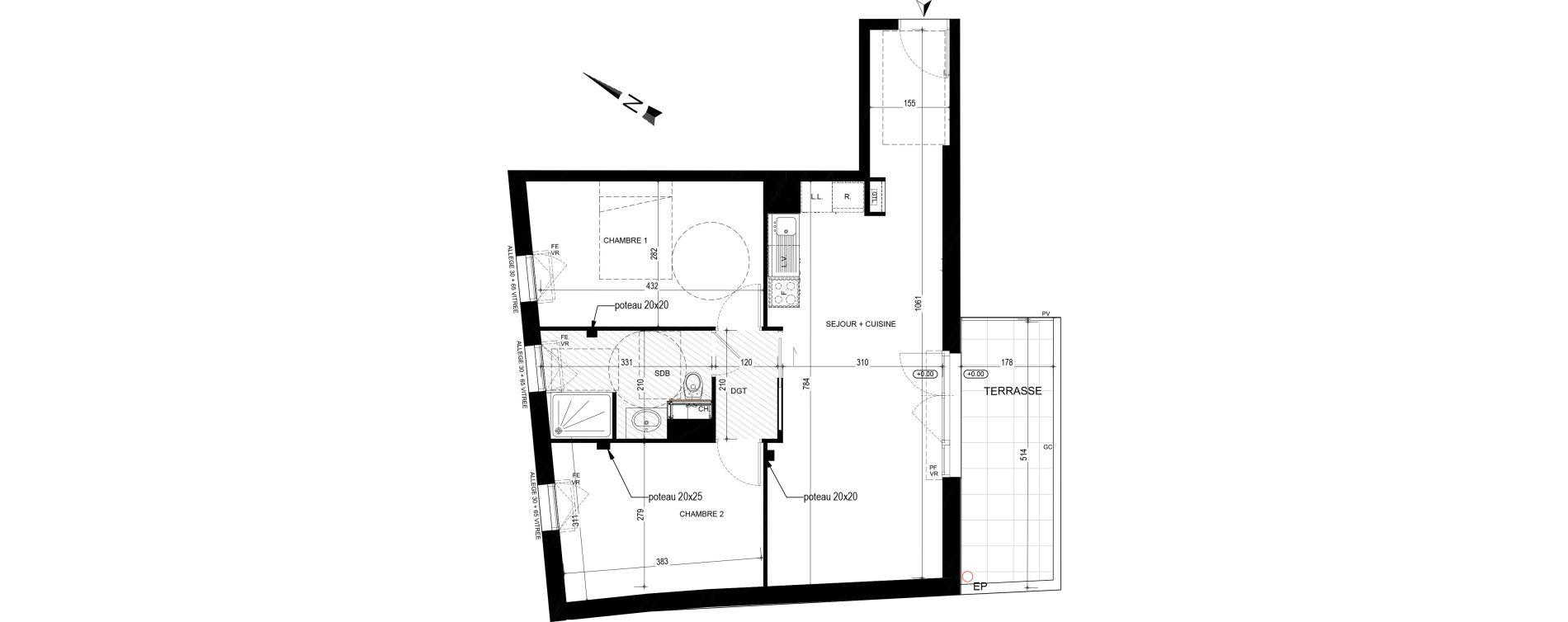 Appartement T3 de 62,33 m2 à Nantes Nantes madeleine