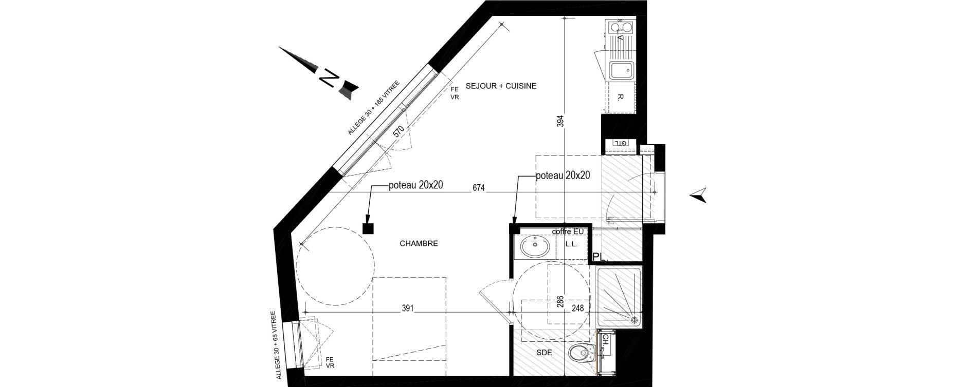 Appartement T1 bis de 36,48 m2 à Nantes Nantes madeleine