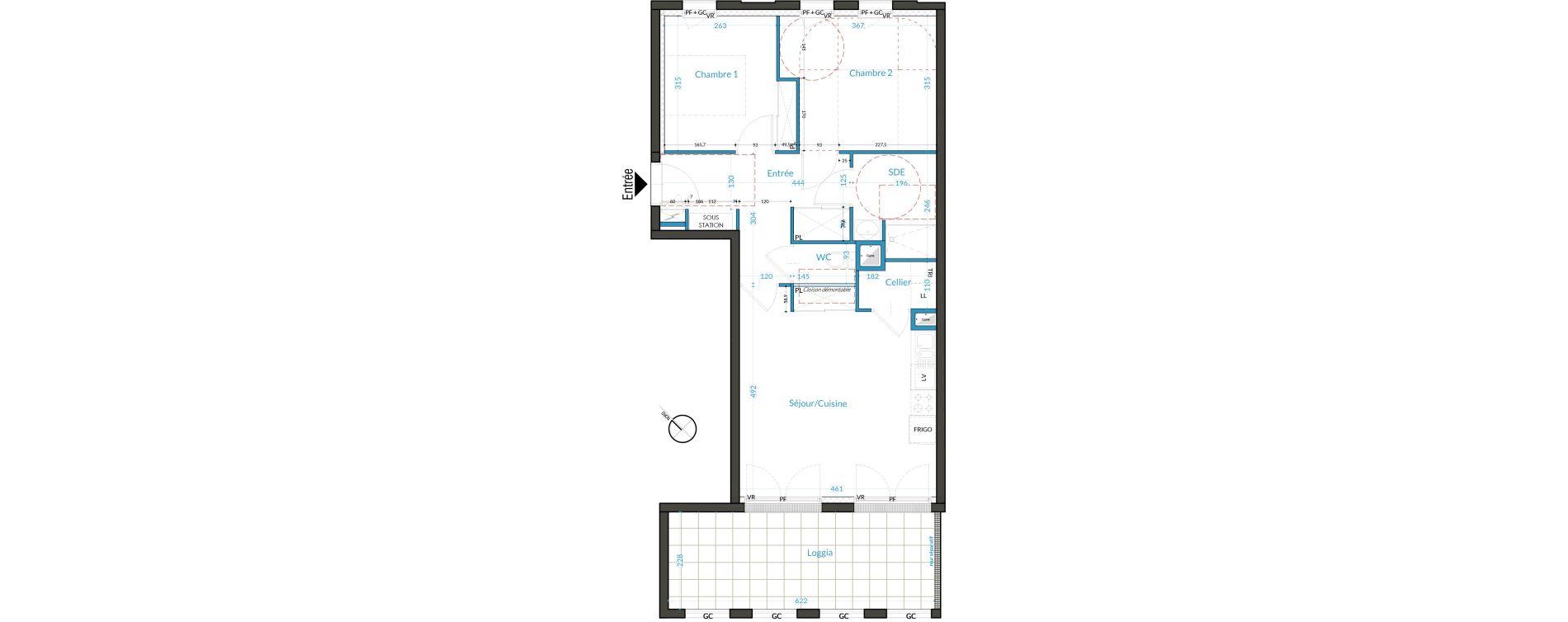 Appartement T3 de 58,11 m2 à Nantes Nantes république