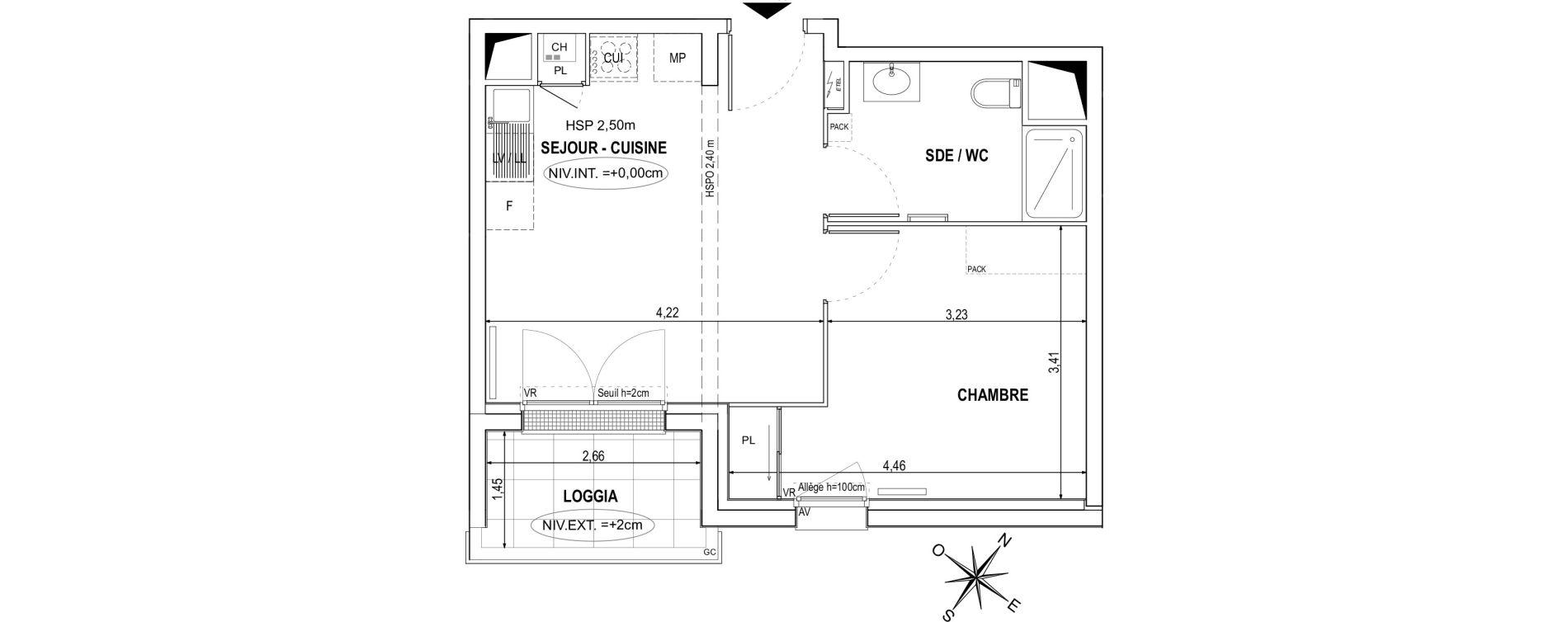 Appartement T2 de 36,94 m2 à Orvault La praudière