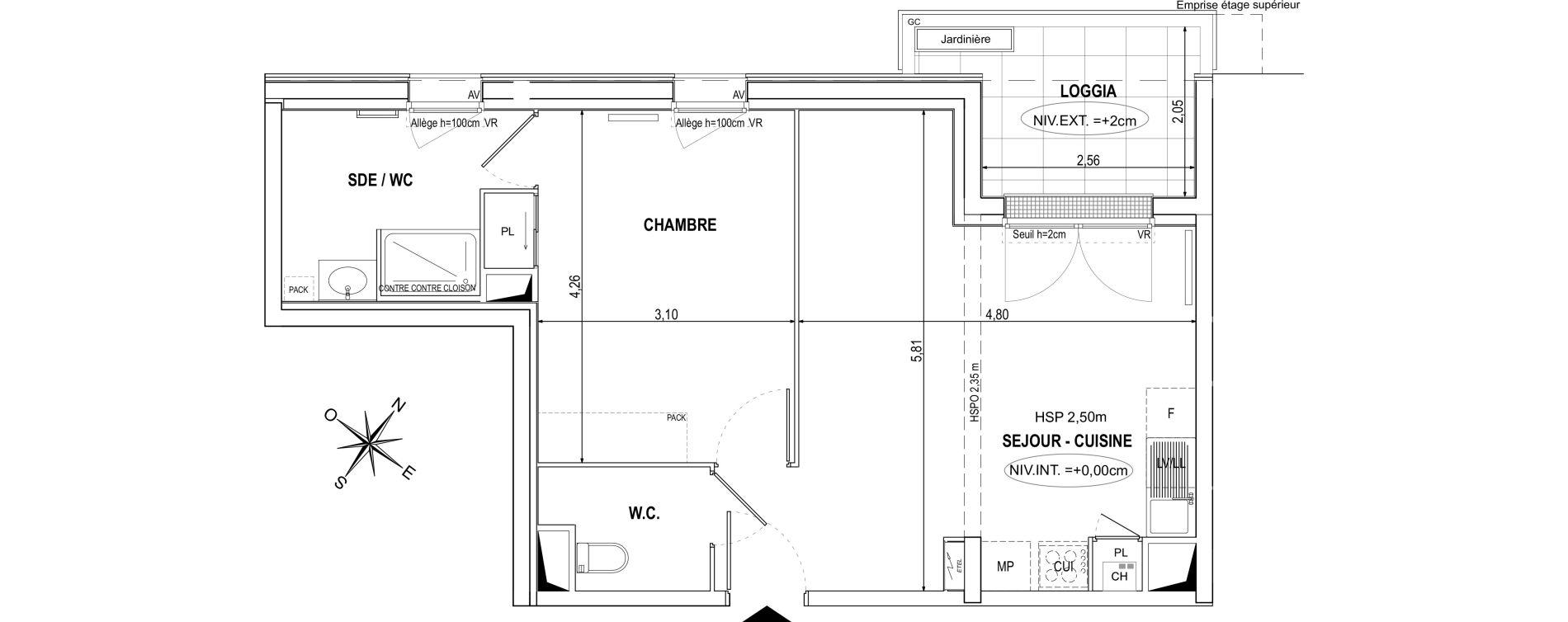 Appartement T2 de 47,15 m2 à Orvault La praudière