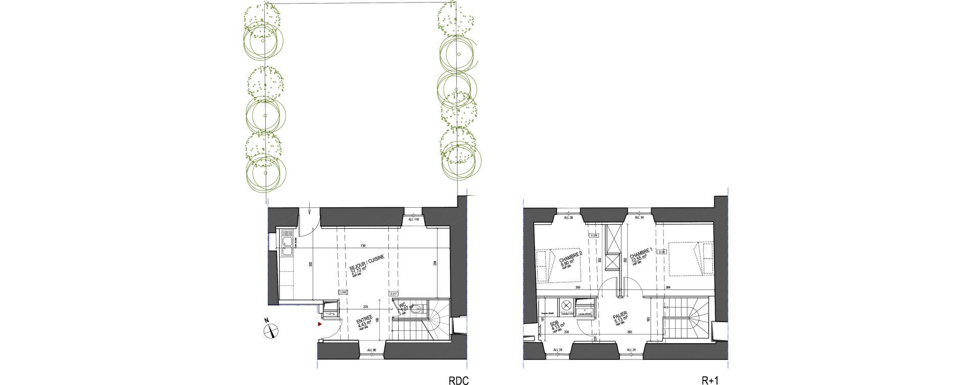 Duplex T3 de 58,93 m2 à Saint-Herblain Centre