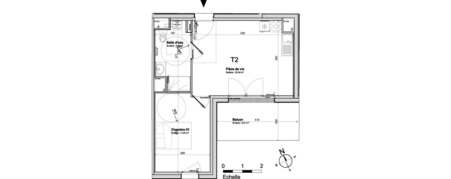 Appartement T2 de 37,88 m2 à Saint-Nazaire Saint marc sur mer