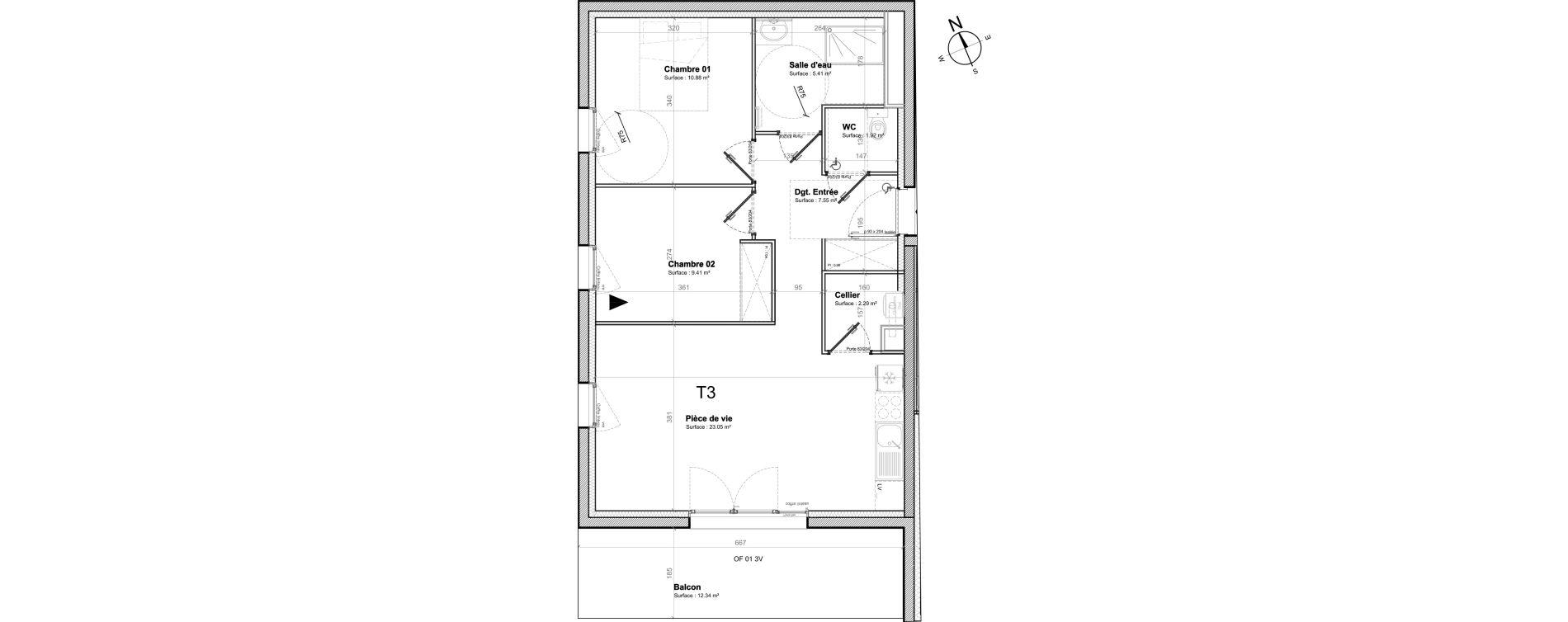 Appartement T3 de 60,51 m2 à Saint-Nazaire Saint marc sur mer