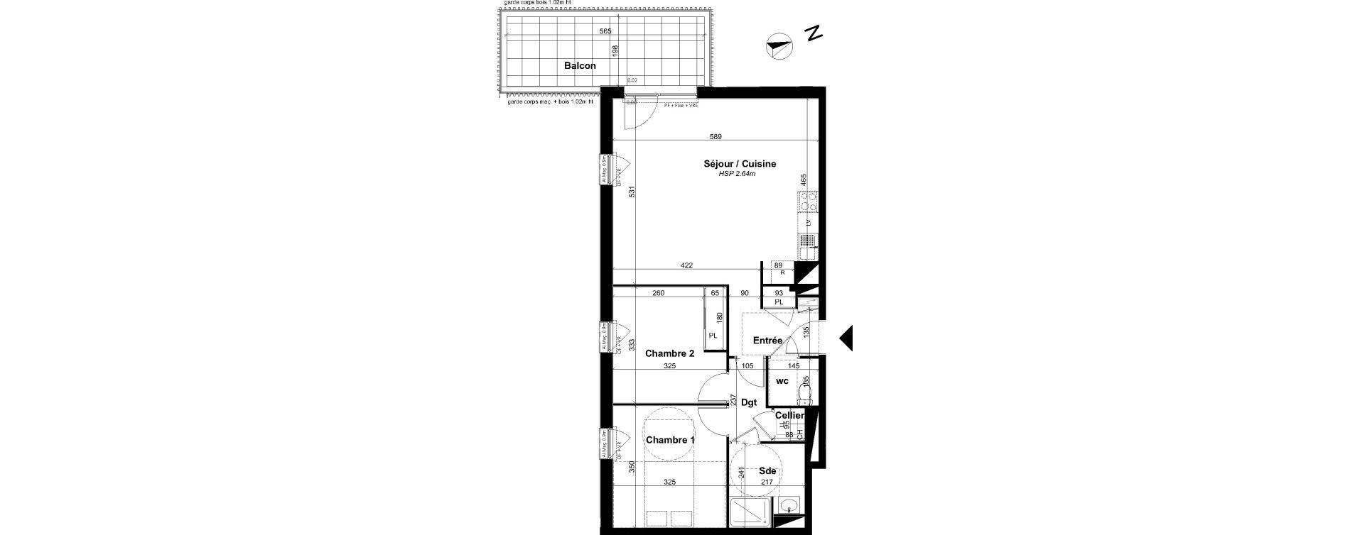 Appartement T3 de 67,28 m2 à Angers Les capucins