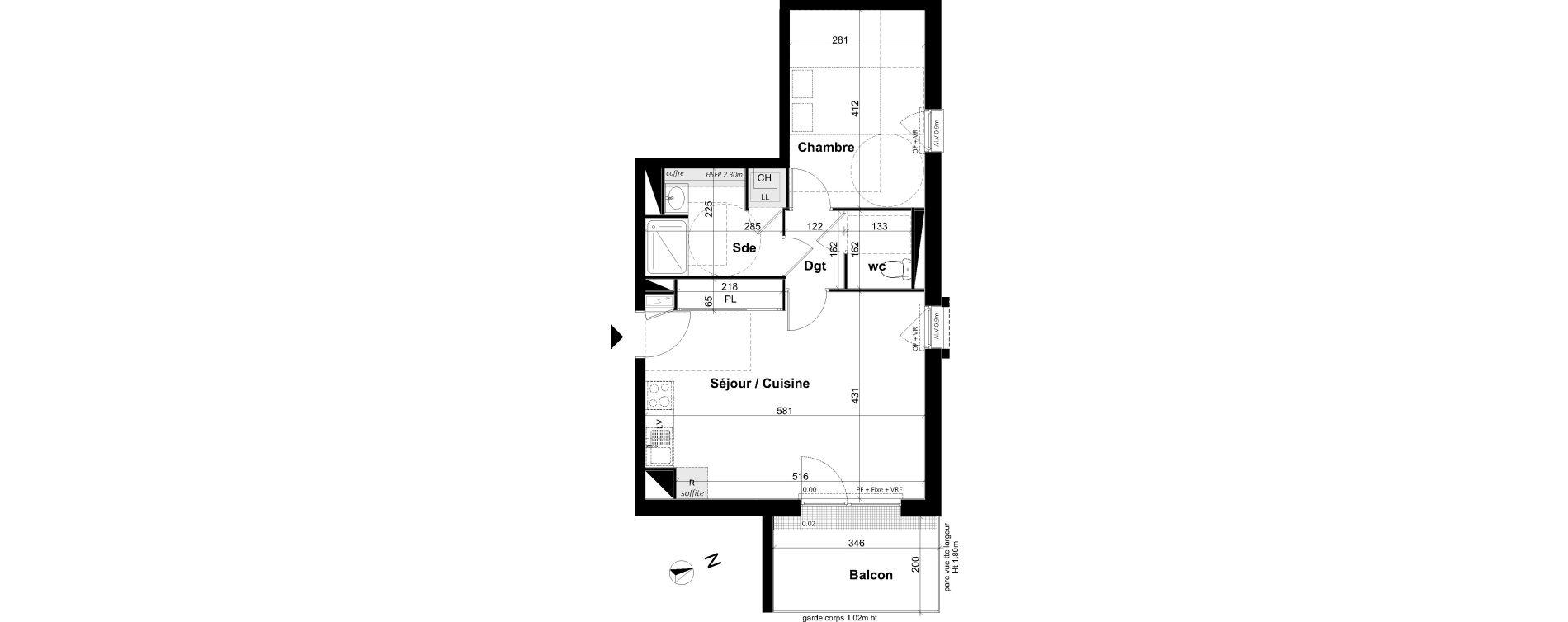 Appartement T2 de 46,14 m2 à Angers Les capucins