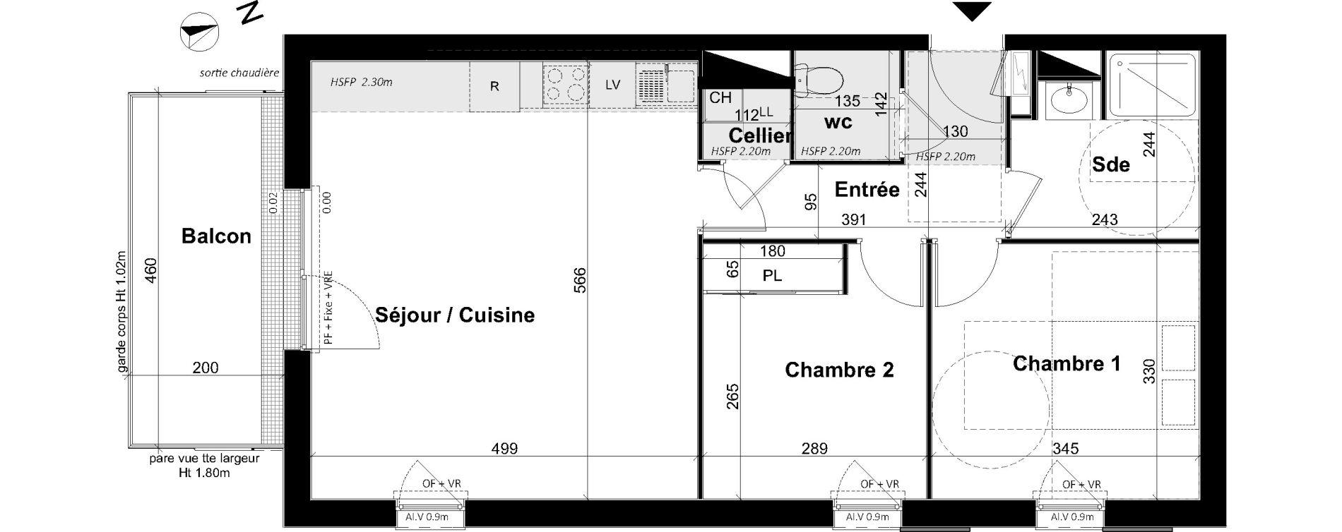 Appartement T3 de 62,96 m2 à Angers Les capucins