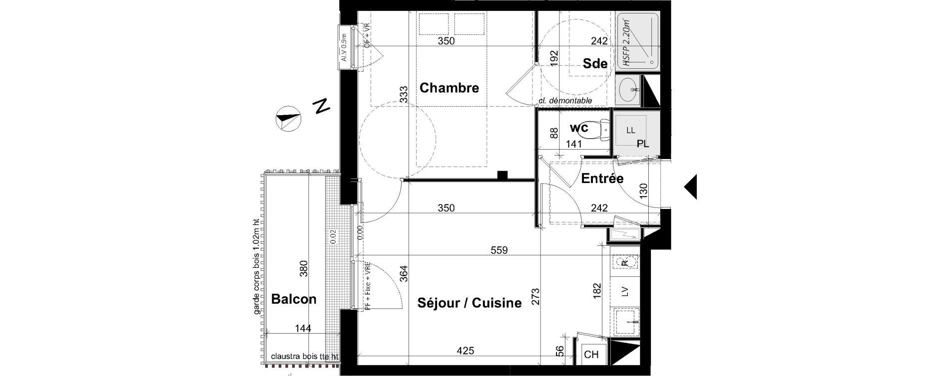 Appartement T2 de 38,66 m2 à Angers Les capucins