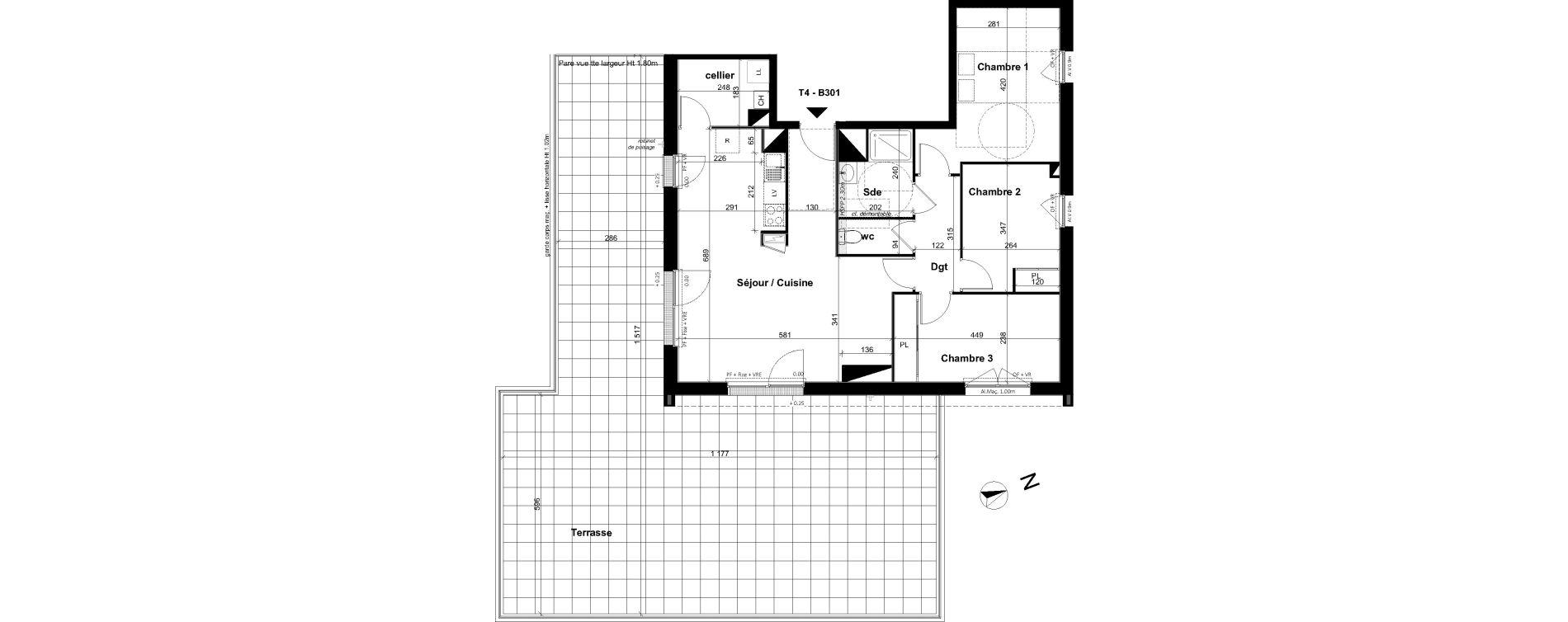 Appartement T4 de 80,69 m2 à Angers Les capucins
