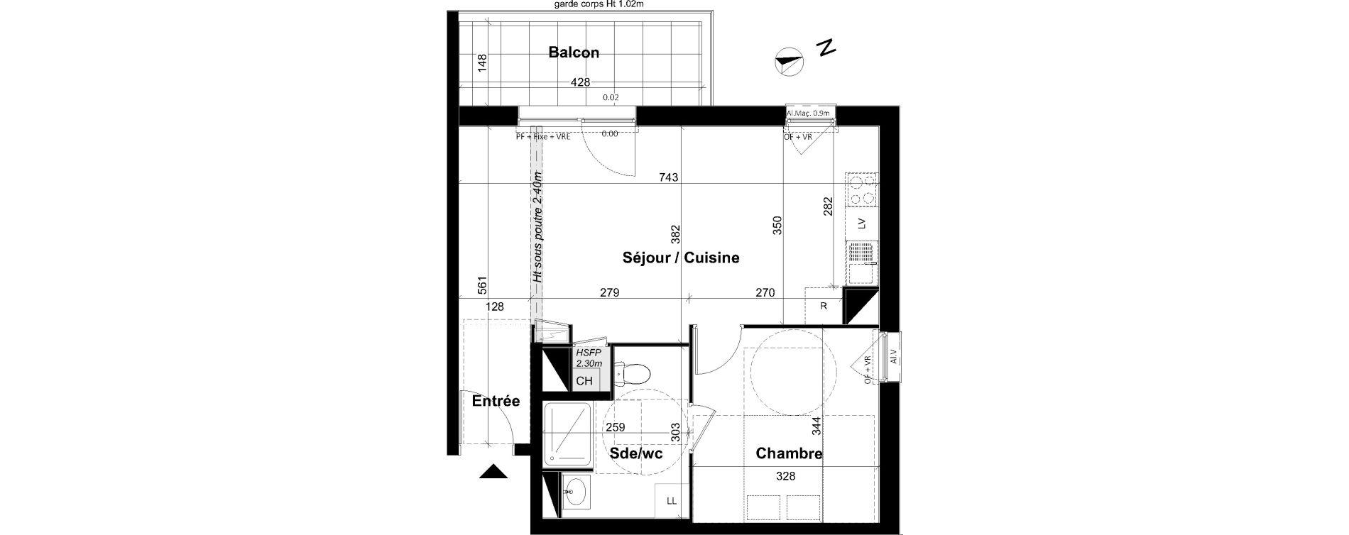 Appartement T2 de 47,13 m2 à Angers Les capucins