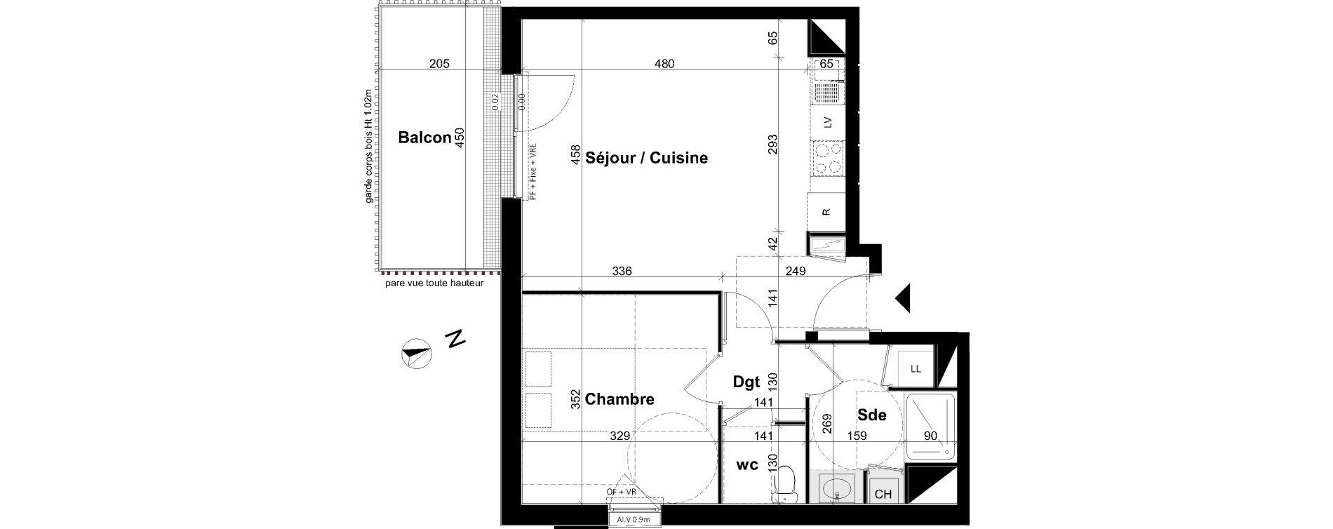 Appartement T2 de 47,07 m2 à Angers Les capucins