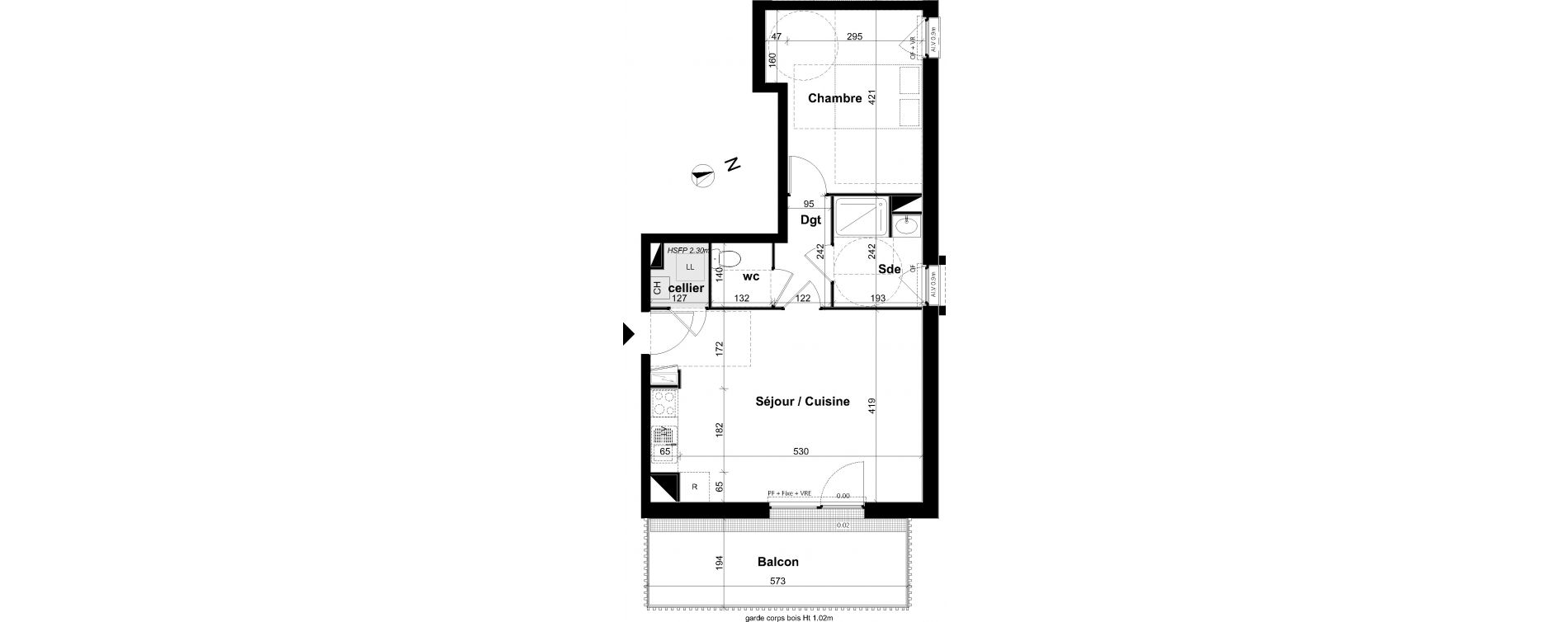 Appartement T2 de 47,31 m2 à Angers Les capucins