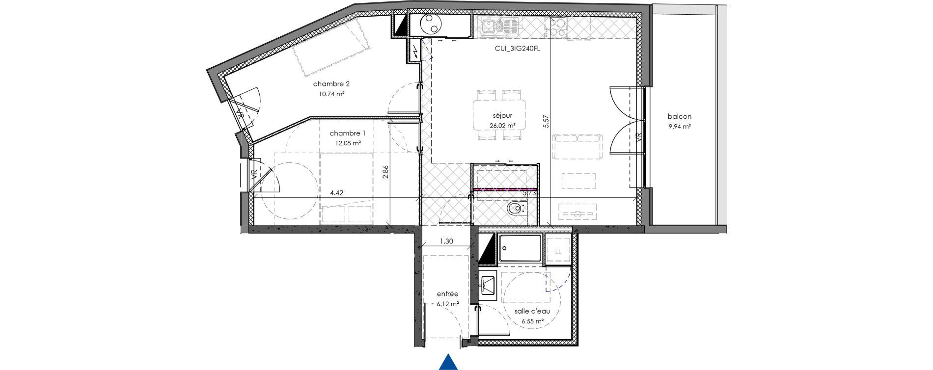 Appartement T3 de 64,81 m2 à Angers Angers centre