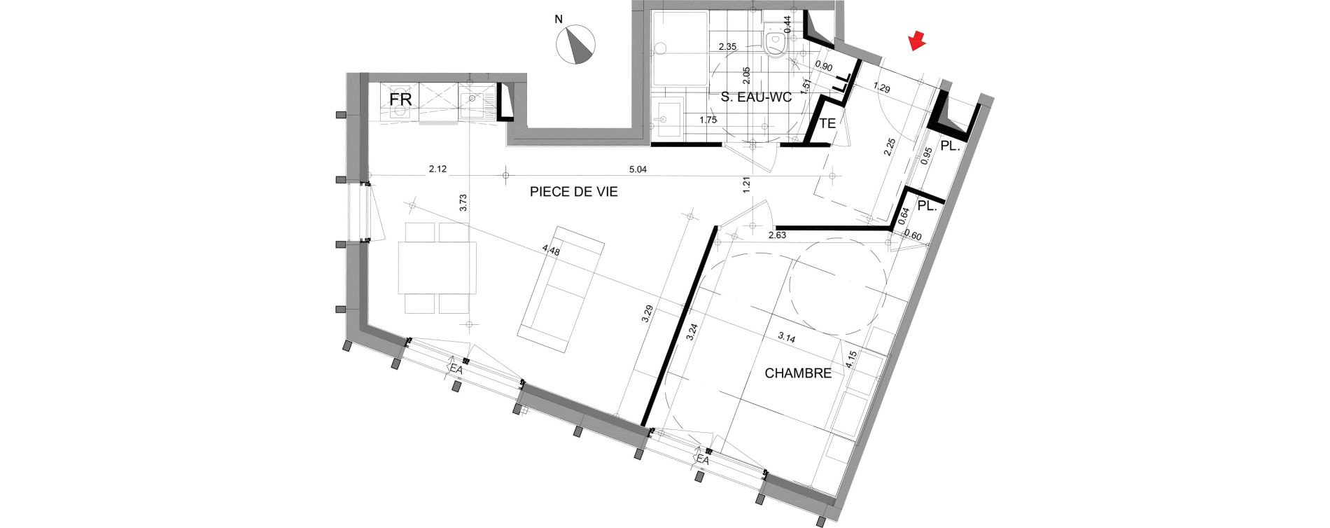 Appartement T2 meublé de 43,34 m2 à Angers Angers centre