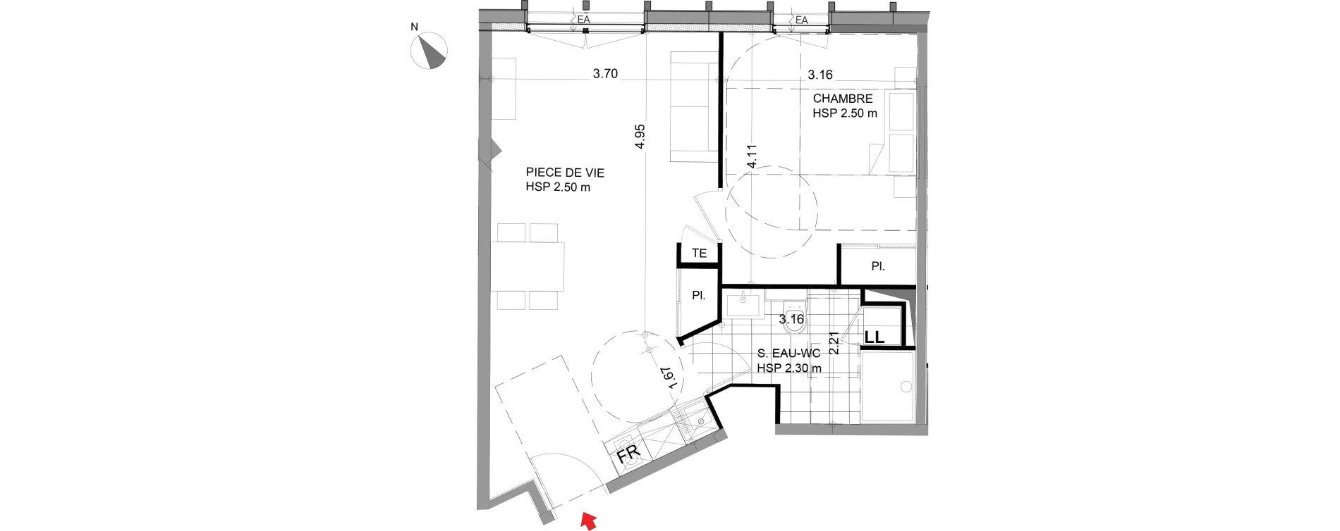 Appartement T2 meublé de 44,98 m2 à Angers Angers centre