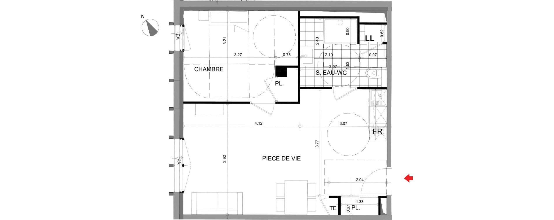 Appartement T2 meublé de 49,02 m2 à Angers Angers centre