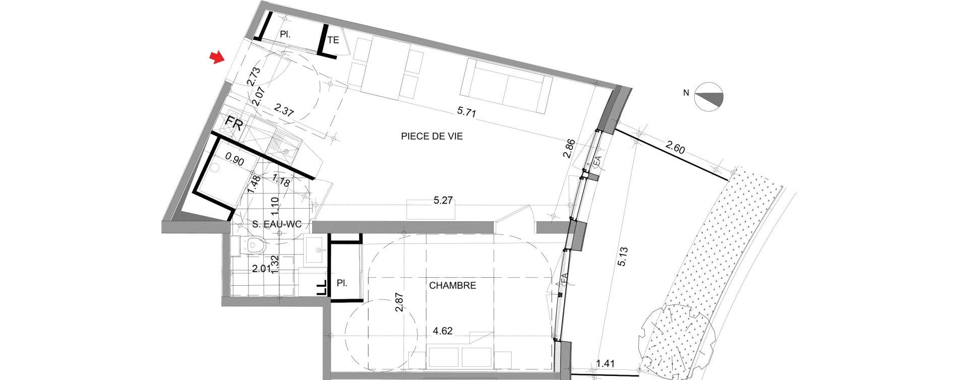 Appartement T2 meublé de 42,76 m2 à Angers Angers centre
