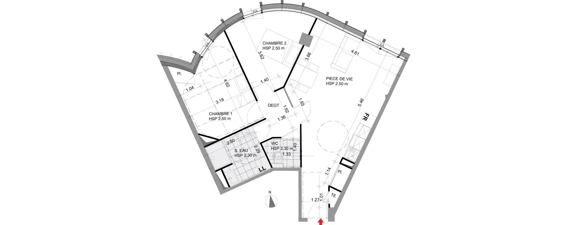 Appartement T3 meublé de 63,23 m2 à Angers Angers centre