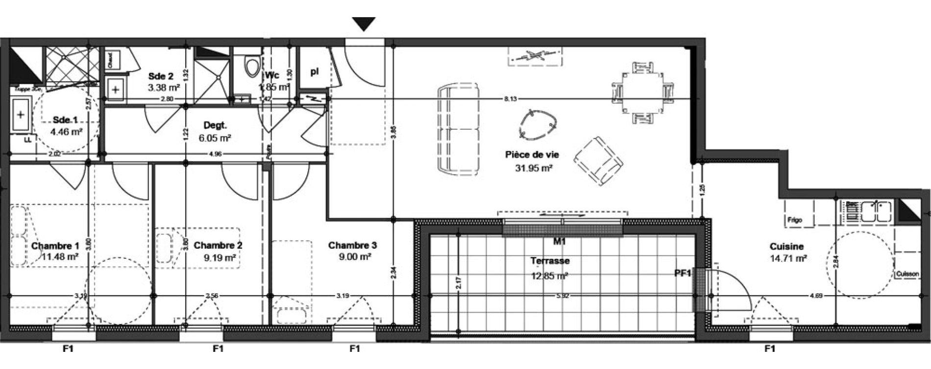 Appartement T4 de 92,07 m2 à Angers Ney
