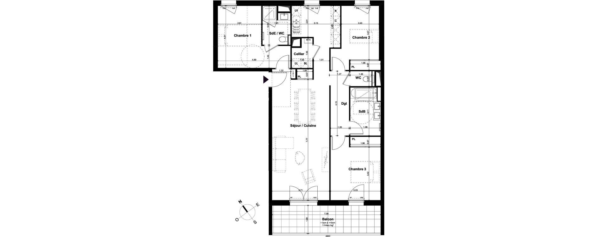 Appartement T4 de 96,45 m2 à Angers Hauts de saint-aubin
