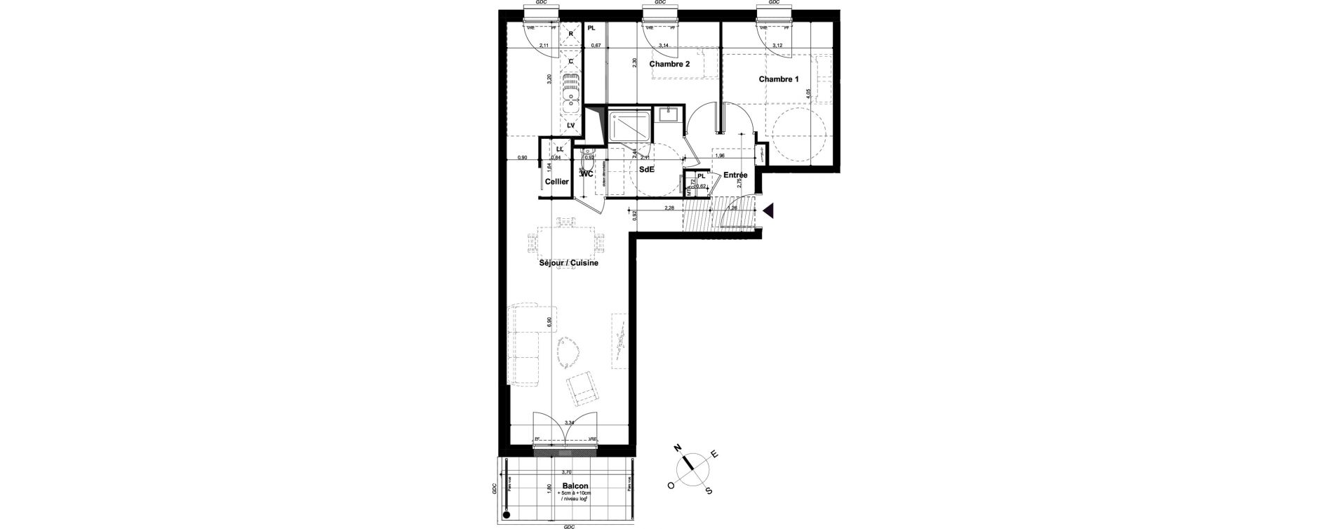 Appartement T3 de 67,49 m2 à Angers Hauts de saint-aubin