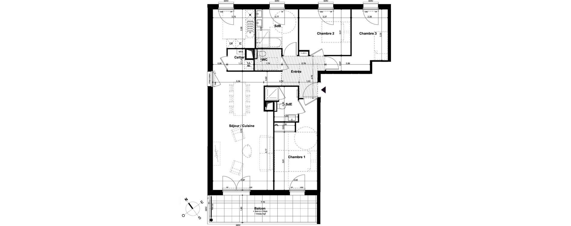 Appartement T4 de 95,43 m2 à Angers Hauts de saint-aubin