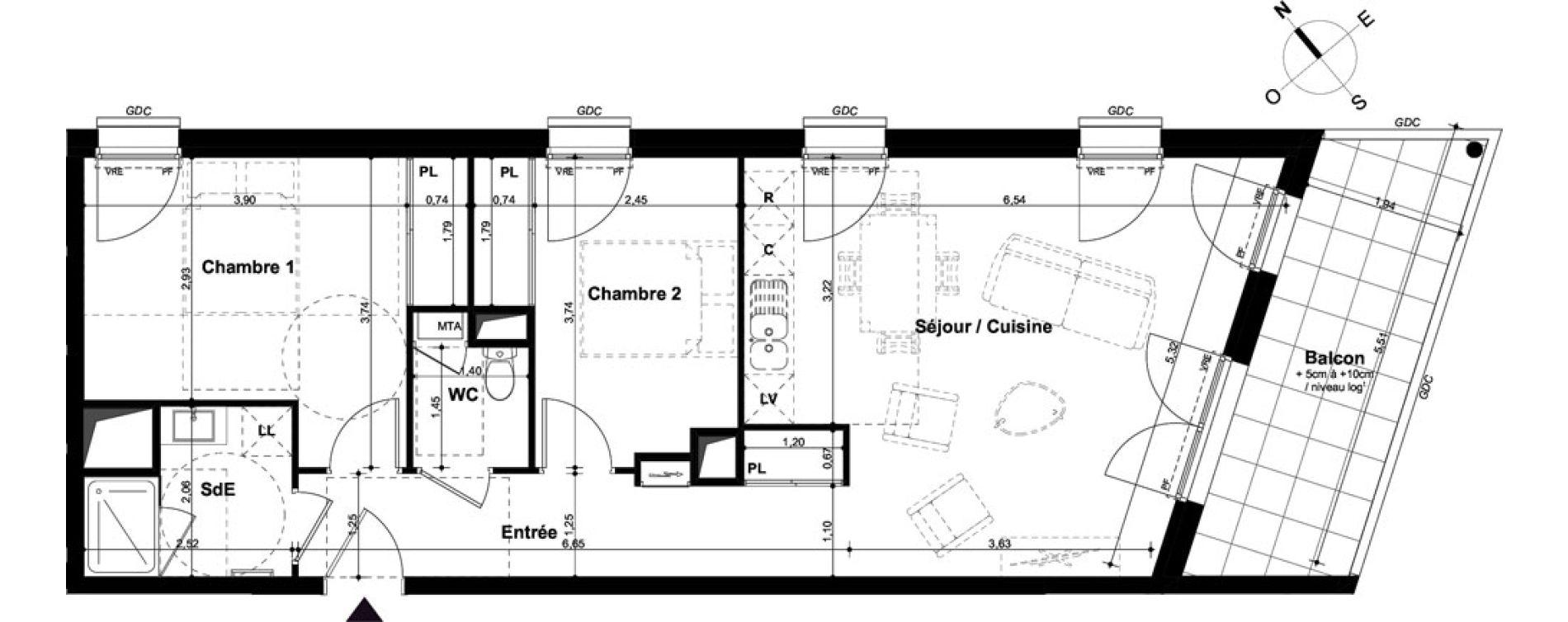 Appartement T3 de 65,99 m2 à Angers Hauts de saint-aubin