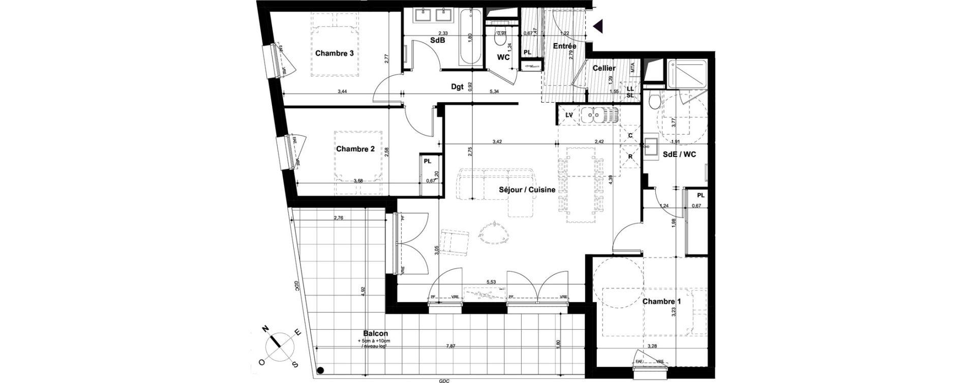 Appartement T4 de 93,54 m2 à Angers Hauts de saint-aubin