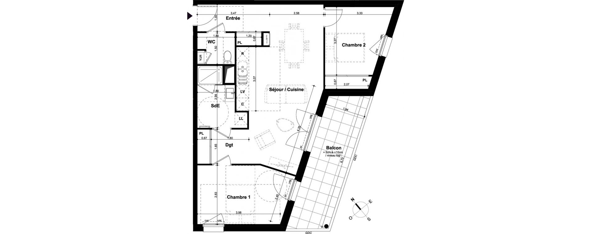 Appartement T3 de 65,42 m2 à Angers Hauts de saint-aubin