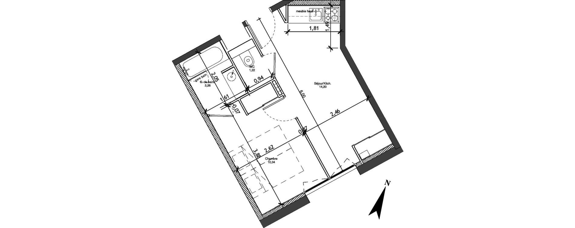 Appartement T2 meublé de 28,72 m2 à Angers La fayette-eble