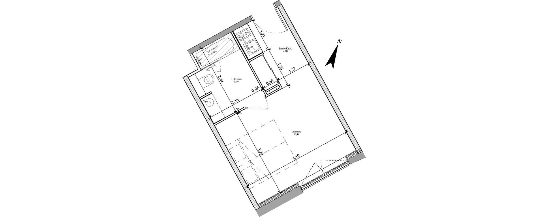 Appartement T1 meublé de 23,44 m2 à Angers La fayette-eble