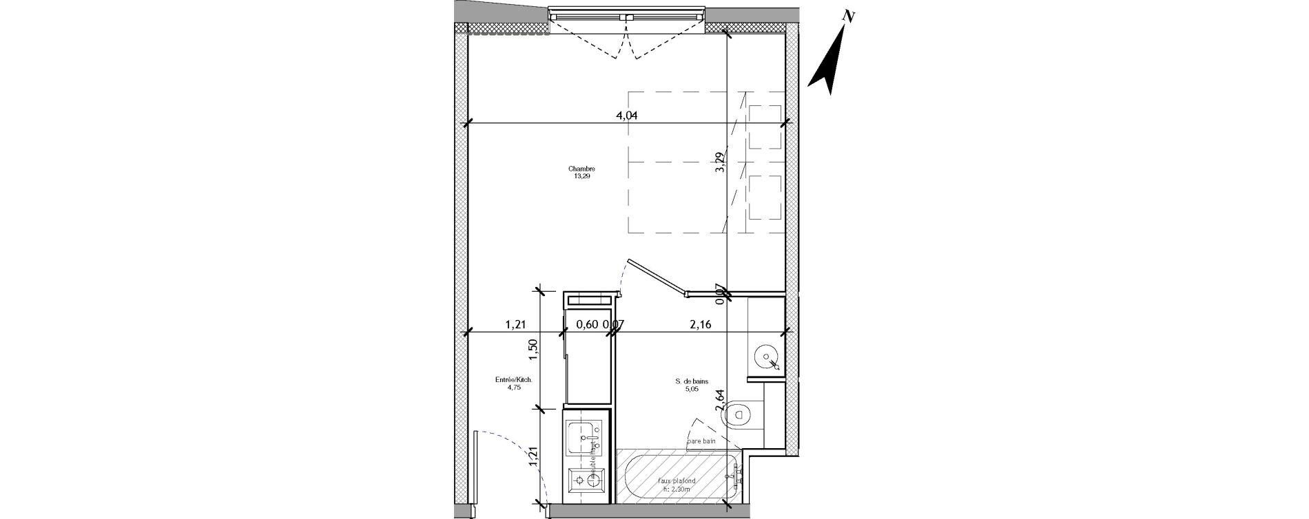 Appartement T1 meublé de 23,27 m2 à Angers La fayette-eble