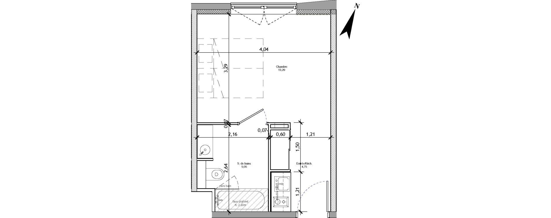 Appartement T1 meublé de 23,09 m2 à Angers La fayette-eble