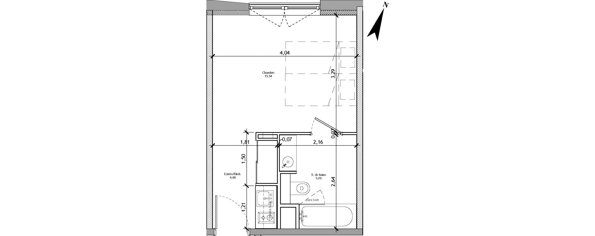 Appartement T1 meublé de 23,06 m2 à Angers La fayette-eble