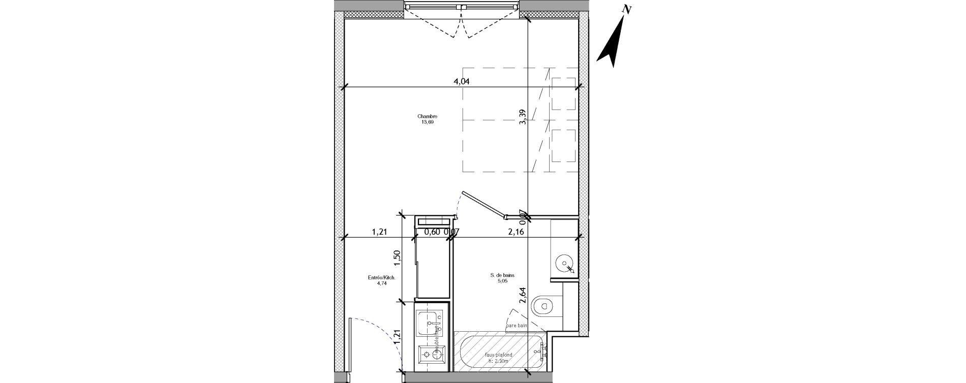 Appartement T1 meublé de 23,48 m2 à Angers La fayette-eble