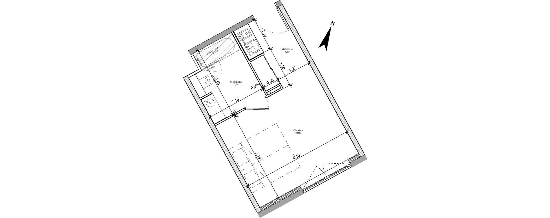 Appartement T1 meublé de 23,83 m2 à Angers La fayette-eble