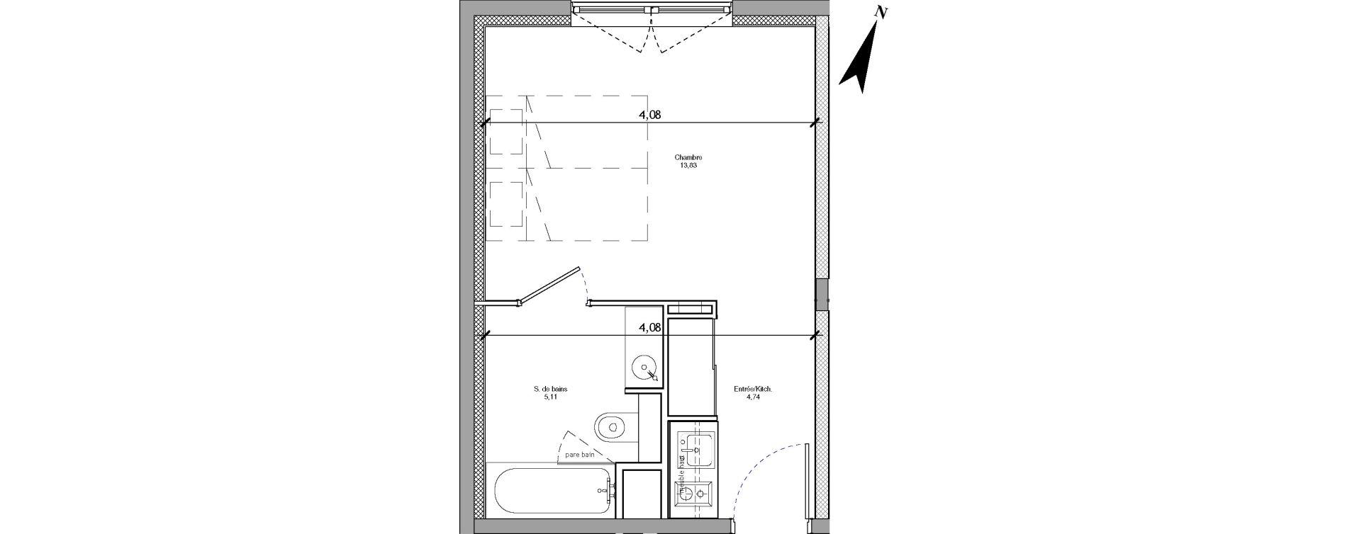 Appartement T1 meublé de 23,67 m2 à Angers La fayette-eble