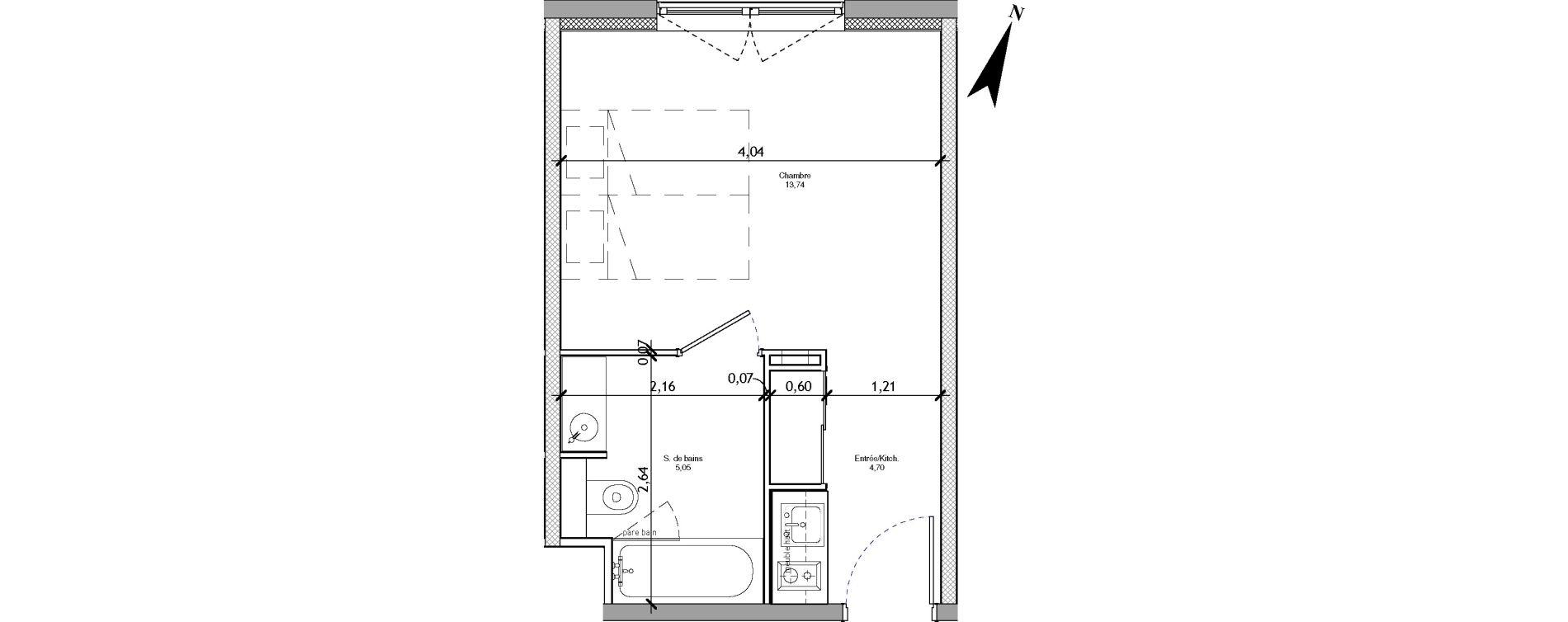 Appartement T1 meublé de 23,49 m2 à Angers La fayette-eble