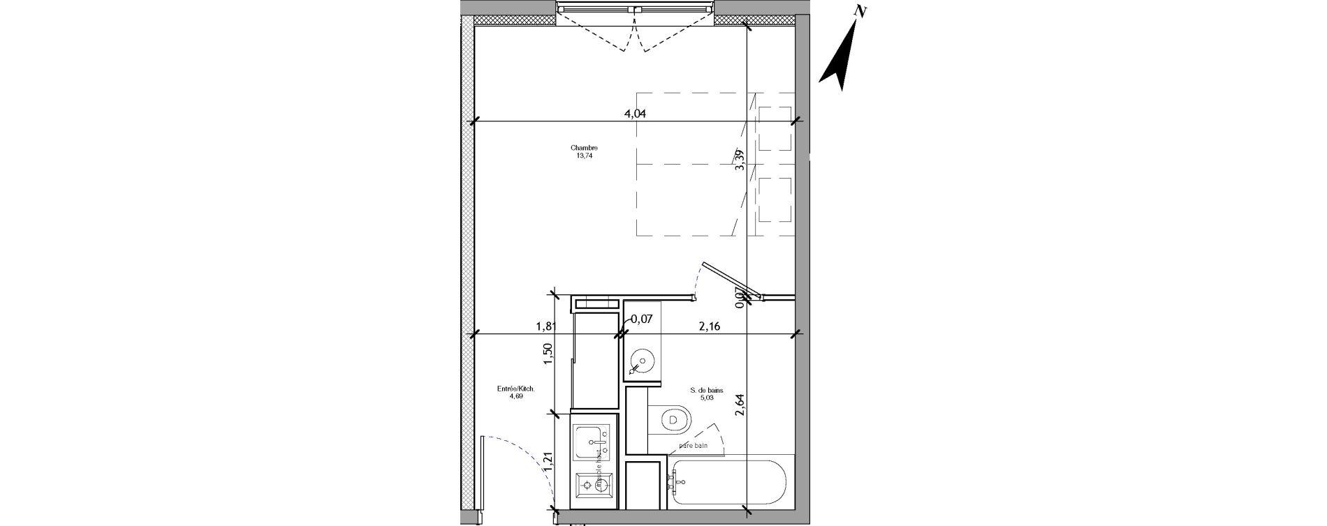 Appartement T1 meublé de 23,46 m2 à Angers La fayette-eble