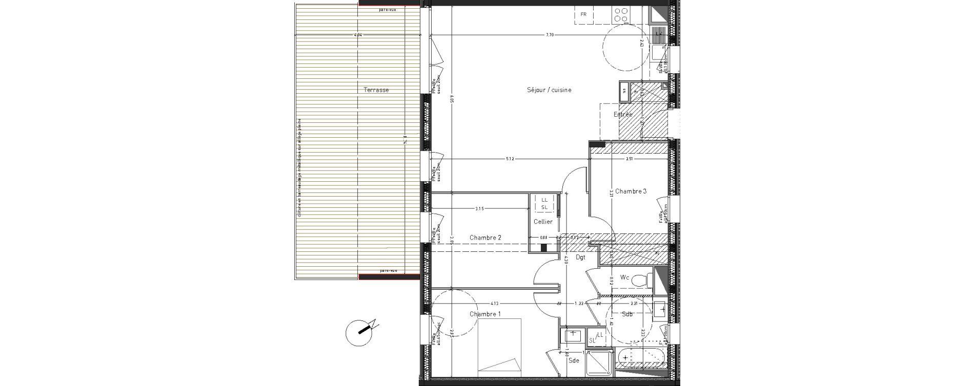 Appartement T4 de 88,83 m2 à Angers Desjardins