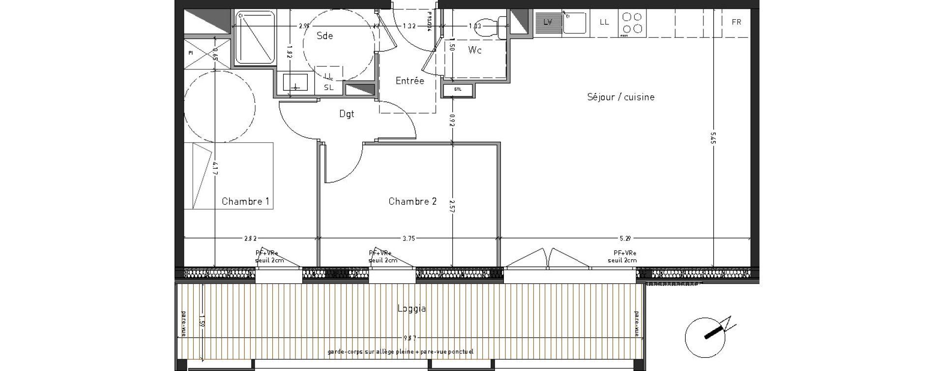 Appartement T3 de 62,49 m2 à Angers Desjardins