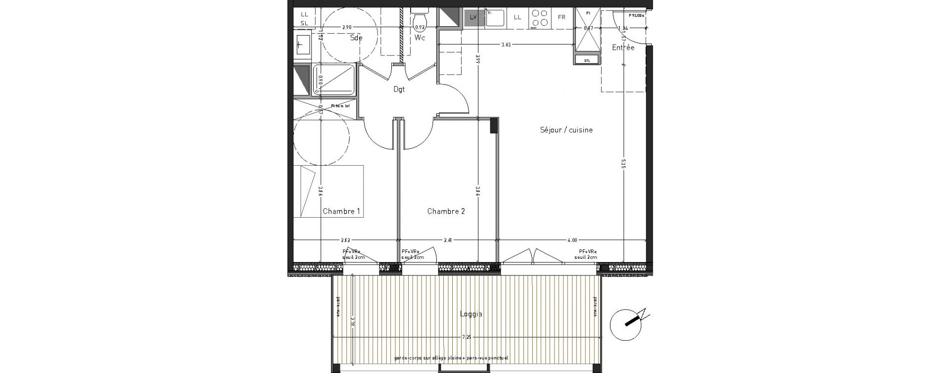 Appartement T3 de 63,47 m2 à Angers Desjardins