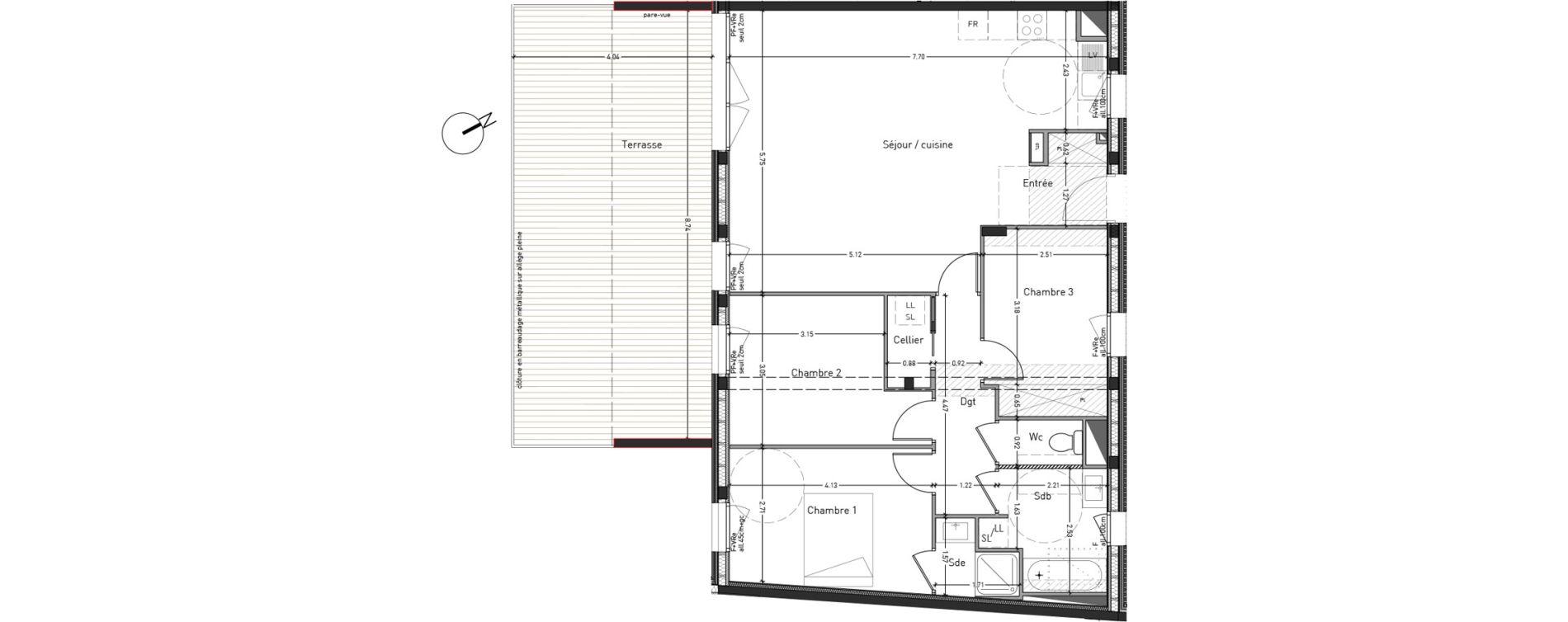 Appartement T4 de 87,50 m2 à Angers Desjardins
