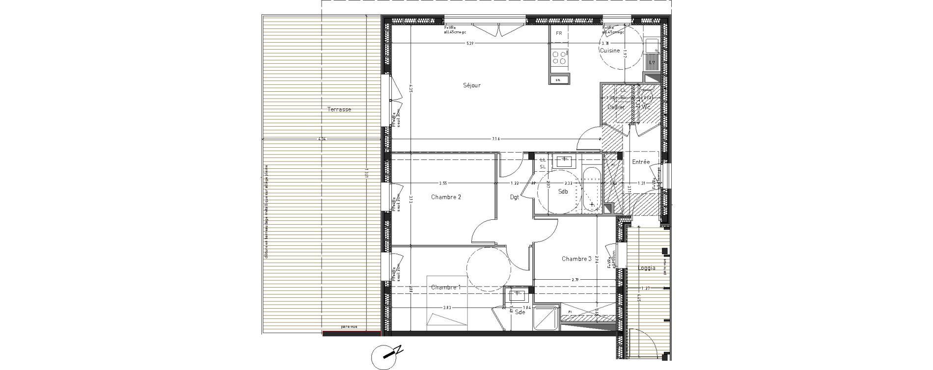 Appartement T4 de 86,78 m2 à Angers Desjardins