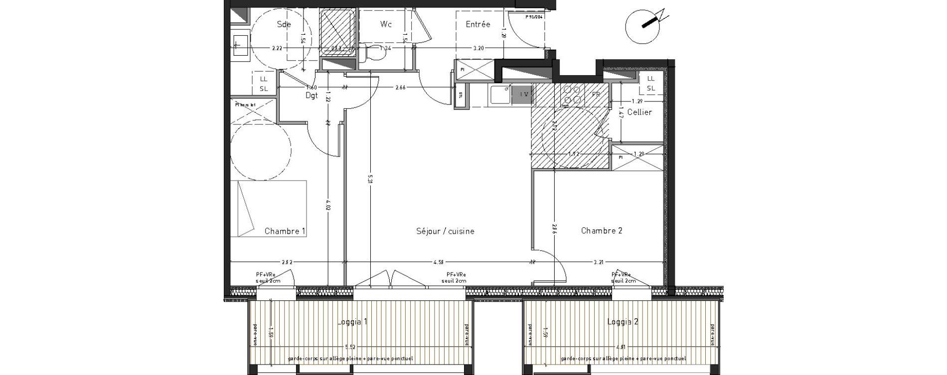 Appartement T3 de 65,59 m2 à Angers Desjardins