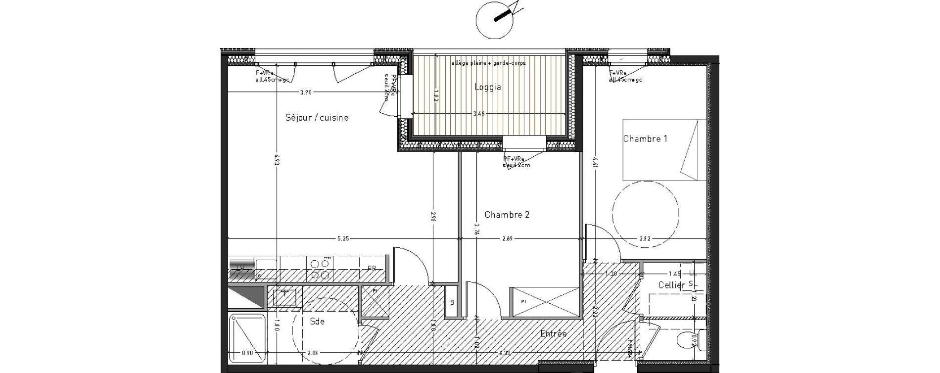 Appartement T3 de 62,97 m2 à Angers Desjardins