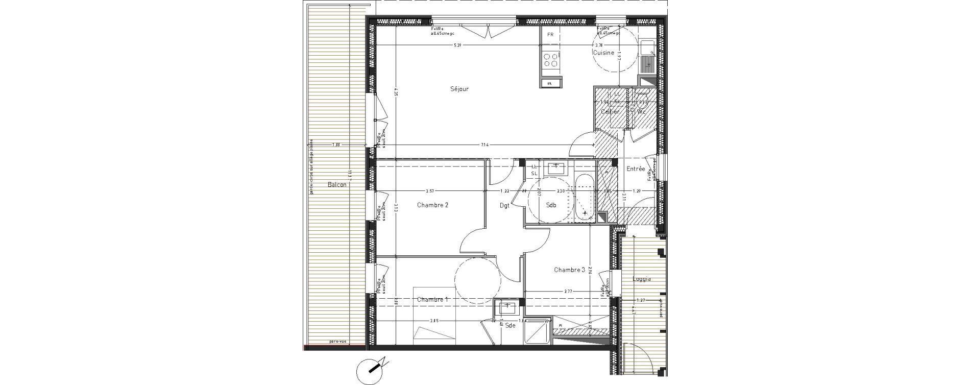 Appartement T4 de 86,61 m2 à Angers Desjardins