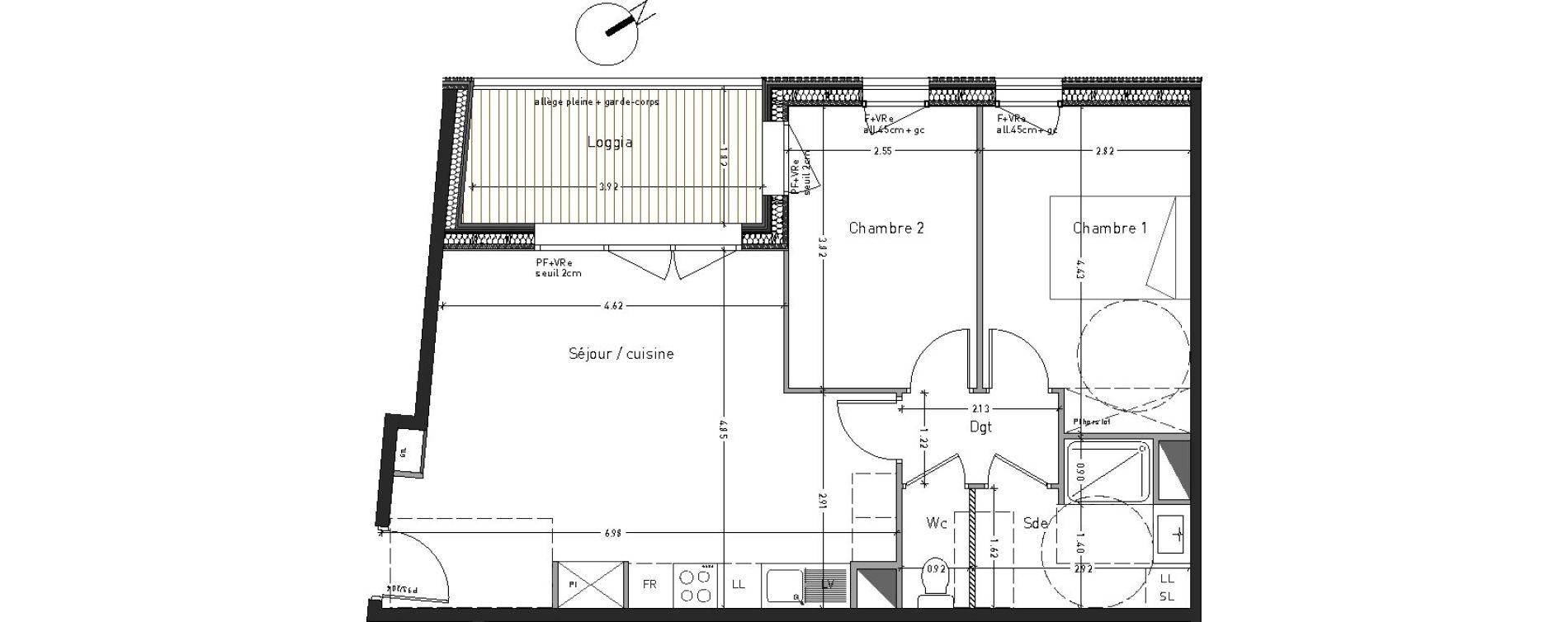 Appartement T3 de 59,18 m2 à Angers Desjardins