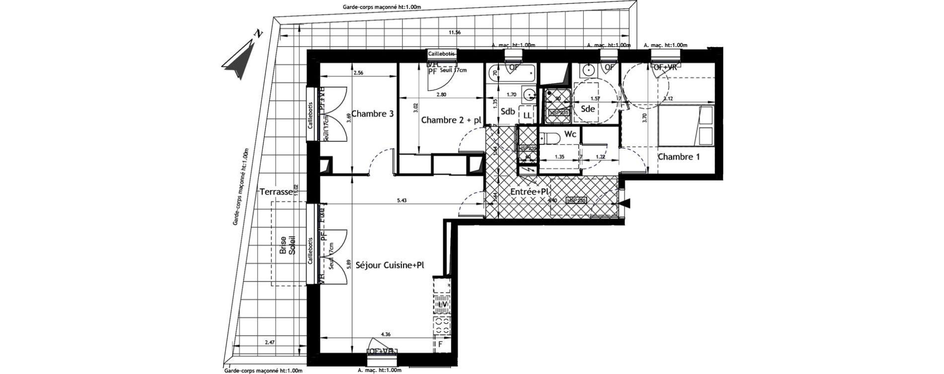 Appartement T4 de 78,08 m2 à Angers Hauts de saint-aubin