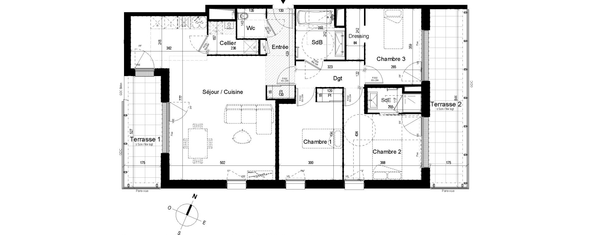 Appartement T4 de 95,22 m2 aux Ponts-De-Cé Grandes maisons